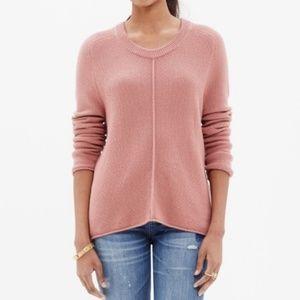 Madewell | Crew Neck Sweater Hi-Lo Salmon Pink